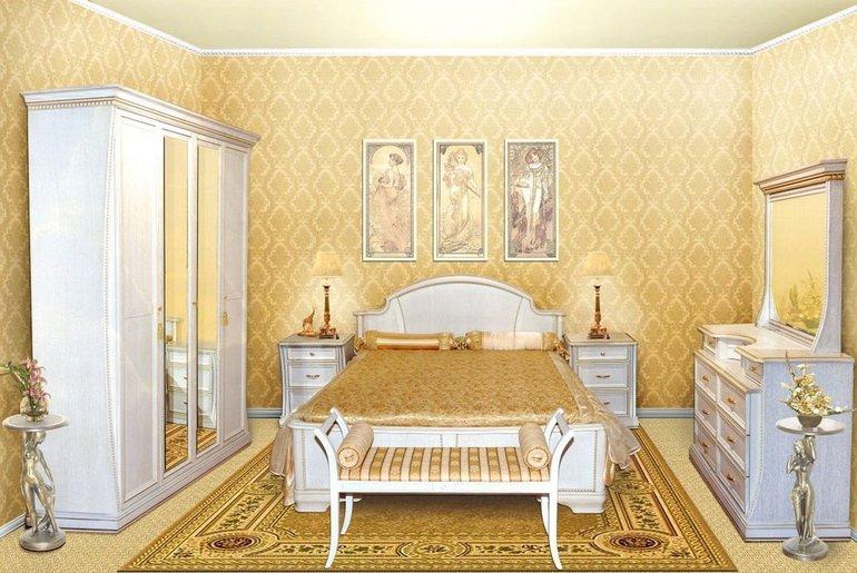 Дизайн спальни золотого цвета